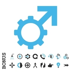 Technological potence flat icon with bonus vector