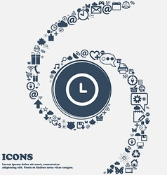 alarm icon in the center Around the many beautiful vector image