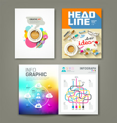 Annual report cover desk artist idea concepts vector image vector image