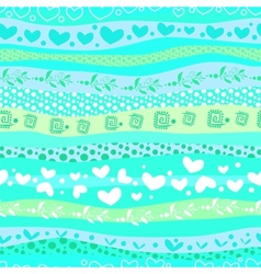 Blue Love Valentins Day Waves Seamless Background vector image vector image