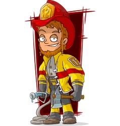 Cartoon fireman chief in cool uniform vector image vector image