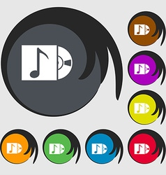 Cd player icon sign symbols on eight colored vector