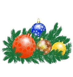 Christmas baubles and tree vector image