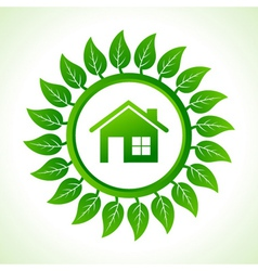 Eco home inside the leaf background vector image