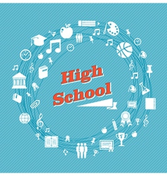 Education high school icons vector image