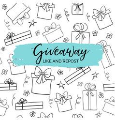 Giveaway minimal card for social media marketing vector