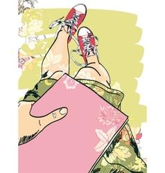 Gumshoes sketch legs girl vector image vector image