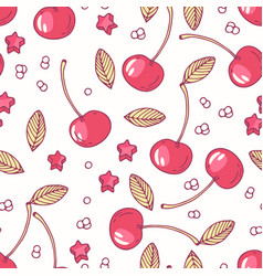 Hand drawn seamless pattern with cherry vector