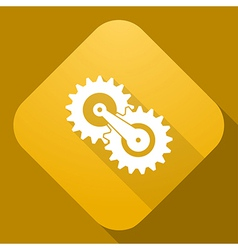 icon of Gears with a long shadow vector image vector image