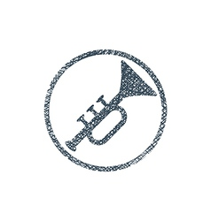 Icon of trumpet with hand drawn lines texture vector