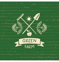 Logo green farm sketch for logo vector