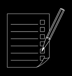 Pencil and a sheet with a list vector