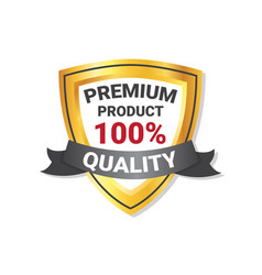 premium quality product label golden shield with vector image