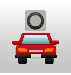 Red car front circle road way design vector