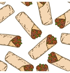 Seamless pattern with tasty mexican burrito vector