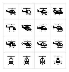Set icons of helicopters vector image vector image