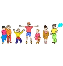 set of colorful children vector image