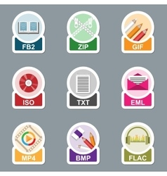 Set of file type icons vector image