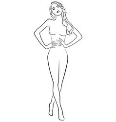 Slim girl holding hands on waistline vector