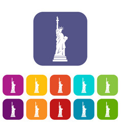 Statue of liberty icons set flat vector