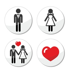 Wedding icons - married couple groom and bride vector image vector image