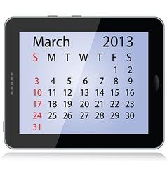 march 2013 calendar vector image