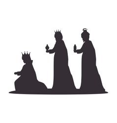 Silhouette three wise kings manger design isolated vector