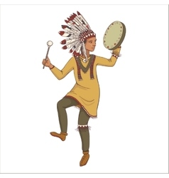 Native american indian man in traditional costume vector