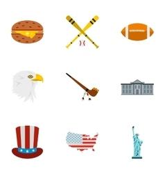 USA icons set flat style vector image
