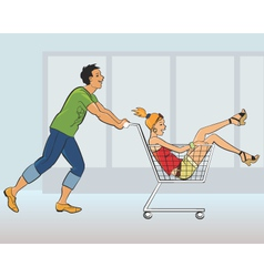 Young couple having fun in a store vector