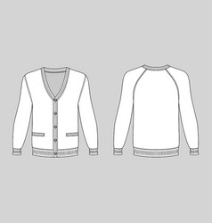 blank long sleeve raglan cardigan vector image