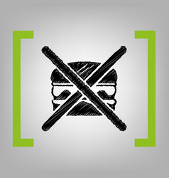 no burger sign  black scribble icon in vector image