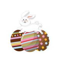 decorated eggs easter and rabbit running vector image