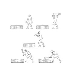 Fitness athlete hammer workout collection set vector
