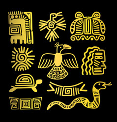 Tribal indian golden symbols vector