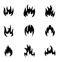black fire icons set vector image