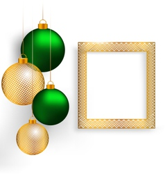 Christmas balls with frame on grayscale vector