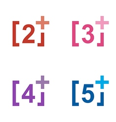 Logo number plus figure colorful design symbol vector