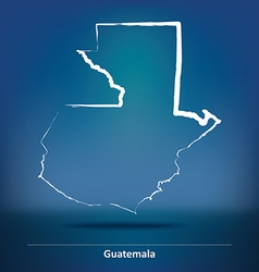 Doodle map of guatemala vector