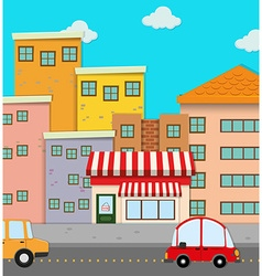 Cars on road in the city vector