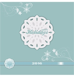 Happy holiday 2016 blue vintage vector