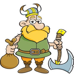 Cartoon viking holding an axe vector