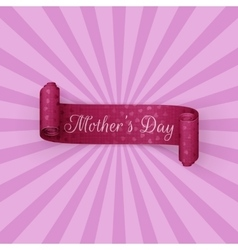Mothers day purple greeting scroll ribbon vector