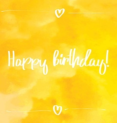 Happy Birthday Script yellow vector image