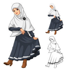 Muslim Girl Fashion Wearing White Veil or Scarf vector image