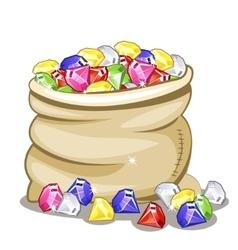 Bag full of multi-colored stones Diamonds vector image