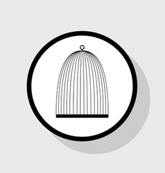 Bird cage sign flat black icon in white vector