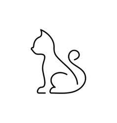 Black cat thin line icon vector