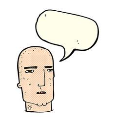 Cartoon bald tough guy with speech bubble vector