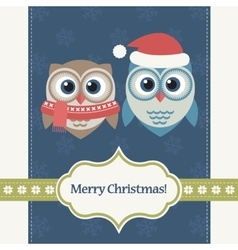 Christmas card with two owls vector image vector image